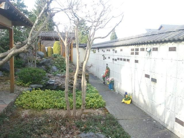 Encompassing the garden is a columbarium